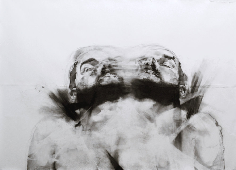 "Mirror Twins , 76"" x 96"", Charcoal on paper, 2014"