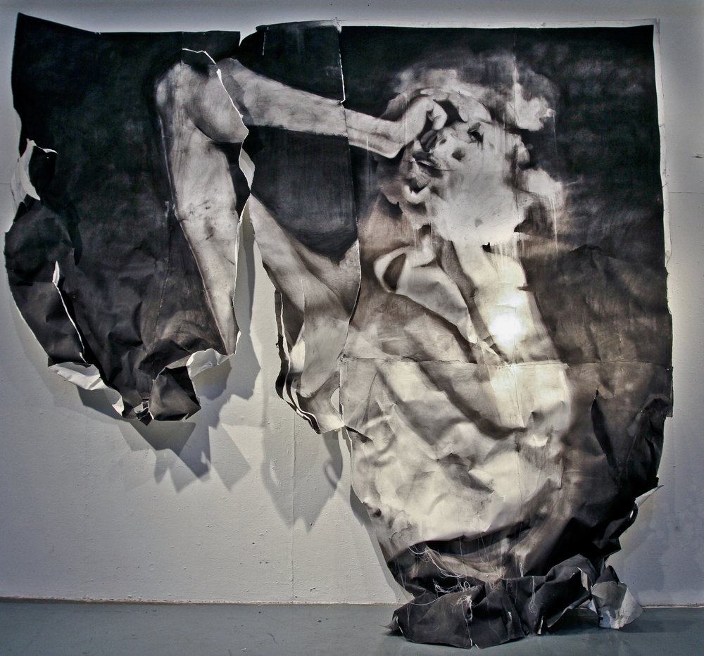 "Not Yet Titled, Charcoal on paper and string, 144"" x 96"", 2008"