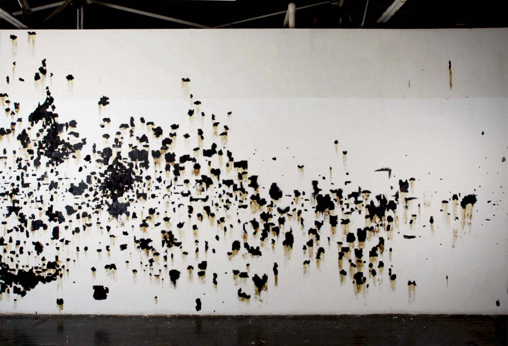 "(w)HOLES Version 1, 96"" x 192"", Tarpaper, graphite, glue, 2013"