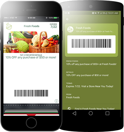 Mobile wallet marketing through a Fresh Foods Coupon