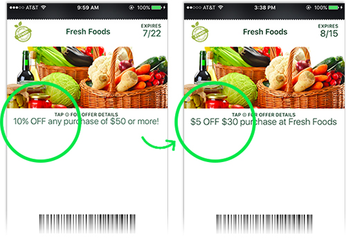 Dynamically update coupon offers