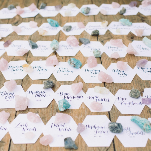 Rustic Beach Wedding Hexagon Escort Cards Crystals Rocks.jpg