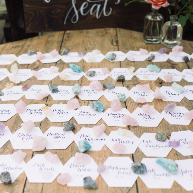 Rustic-Beach-Wedding-Escort-Card-Display-Hexagon-Crystals.jpg