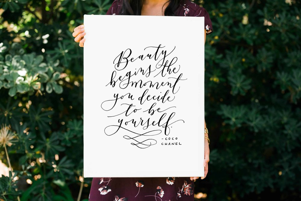 Mason Alley Calligraphy-Beauty-Begins-Coco-Chanel-Canvas.jpg