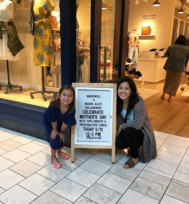 We made it! Come by and see us at @madewell for a special in-store Mother's Day event—sips, treats and shopping! I brought my helper with me today, and she's selling cards she designed for Mason Alley! Check my Stories to see them.