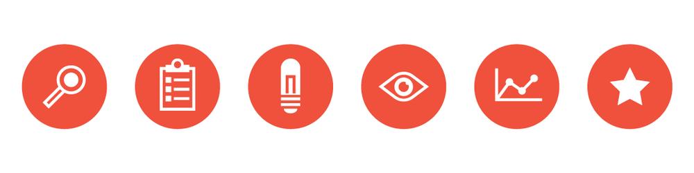Icon Set: Needs Assessment, Planning, Innovation Pilot, Monitoring and Adjusting, Evaluation, Success