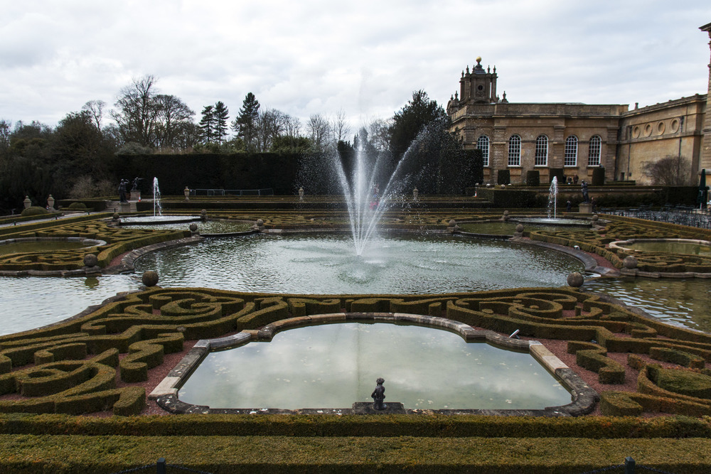 The fountains in the garden