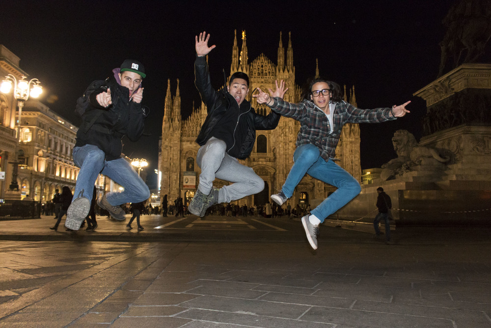Jumping in front of the cathedral in style