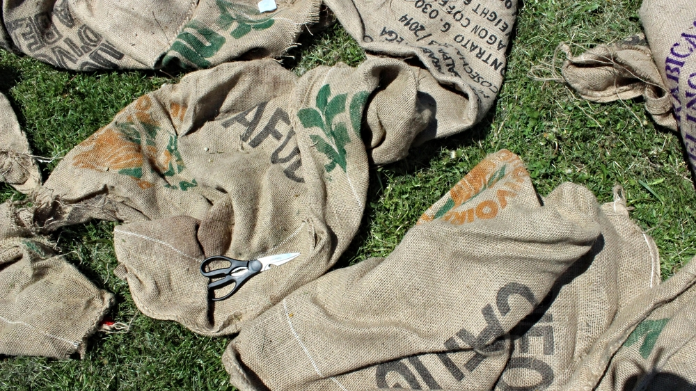 Sourced burlap from the site to reduce this project's carbon footprint
