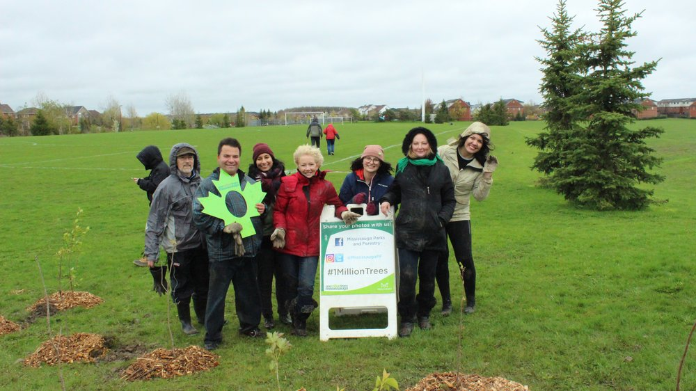 Members of the Lisgar Residents' Association, Sue McFadden, and Many Feathers Co-Op celebrating a successful tree planting!