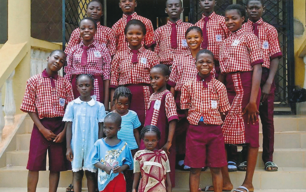 Kadijat and her classmates in uniform at the Christian school