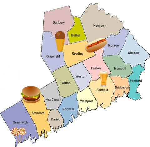 Shout Out Best Food Town In Fairfield County CT Bites - Map of ct towns