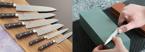 sharp kitchen knives. at napa and company in stamford, executive chef arik bensimon also works with just two knives, a misono nenox, japanese blades from korin new york. sharp kitchen knives