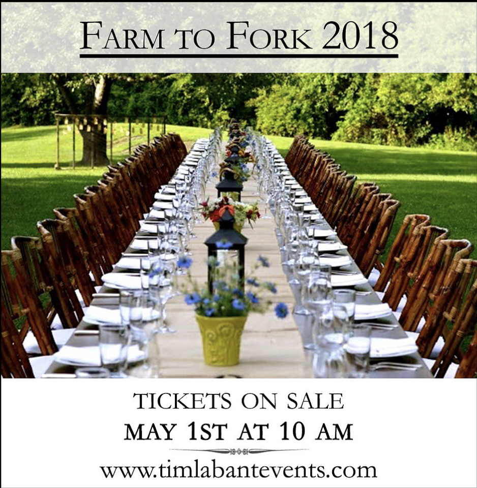 Tix On Sale May 1st For Chef Tim Labant S 2018 S Farm To