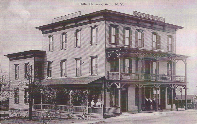 Hotel Genesee. Located just west of the railroad depot on West Main Street.  Postcard. Source: AP&HS collection