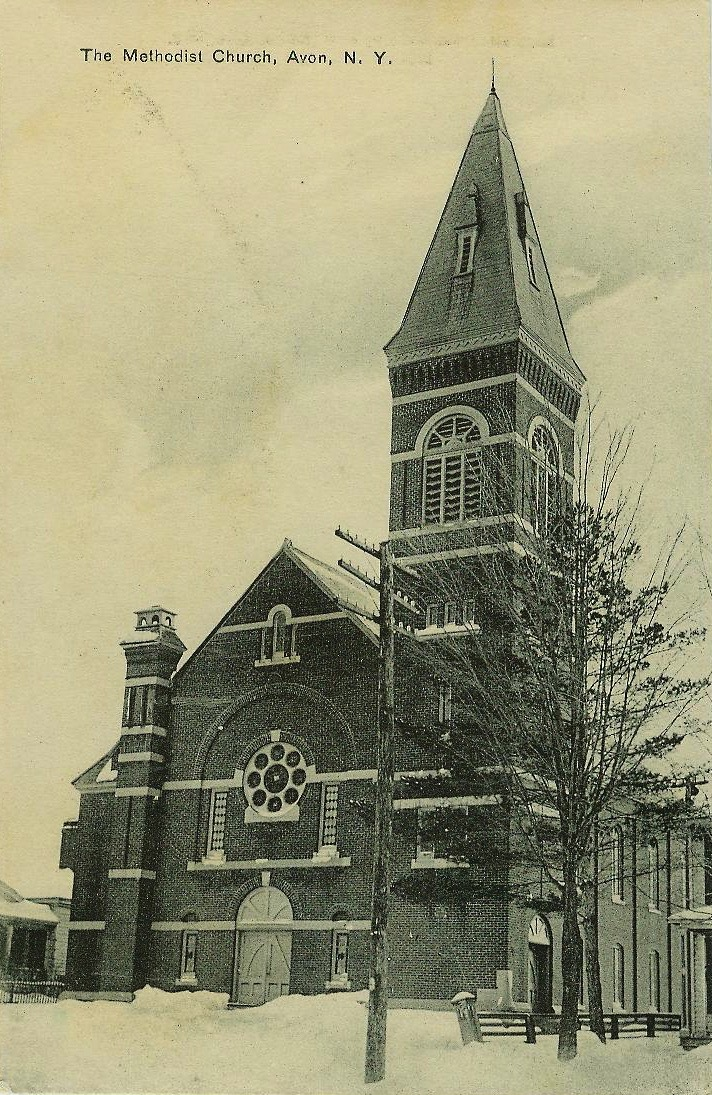 Methodist Church built in 1835.  Postcard.  AP&HS collection