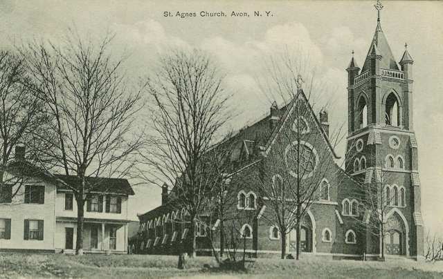 St. Agnes Church built in 1869.  Postcard.  AP&HS collection