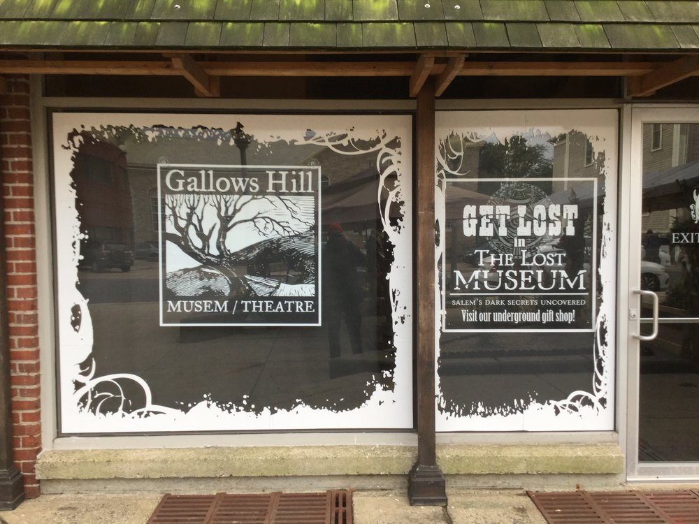 Front window of the  Gallows Hill Museum /Theatre