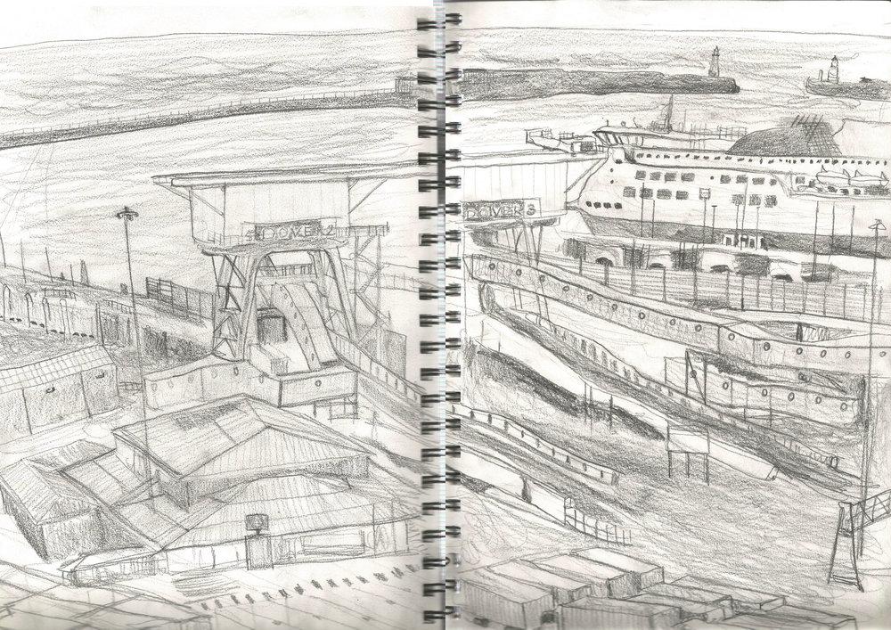 Sketch of port of Dover by myself - December 2018