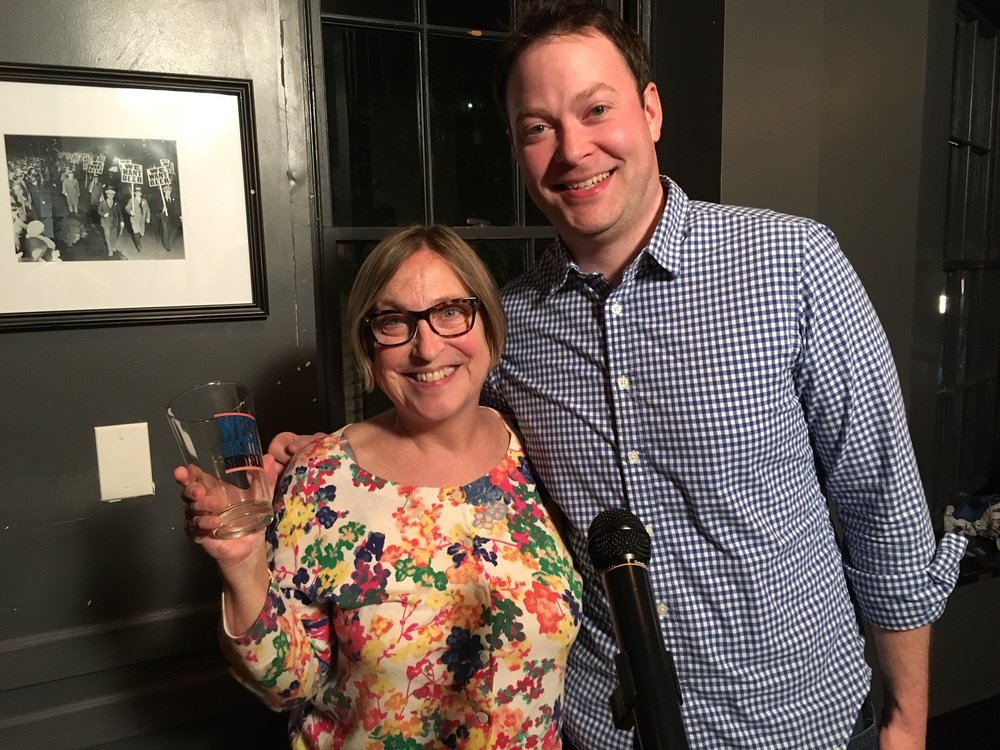 Our May Story Slam winner Cynthia Angst and emcee Mikey Gleason