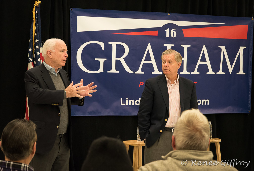 Lindsey Graham with Senator John McCain in Hookset, NH
