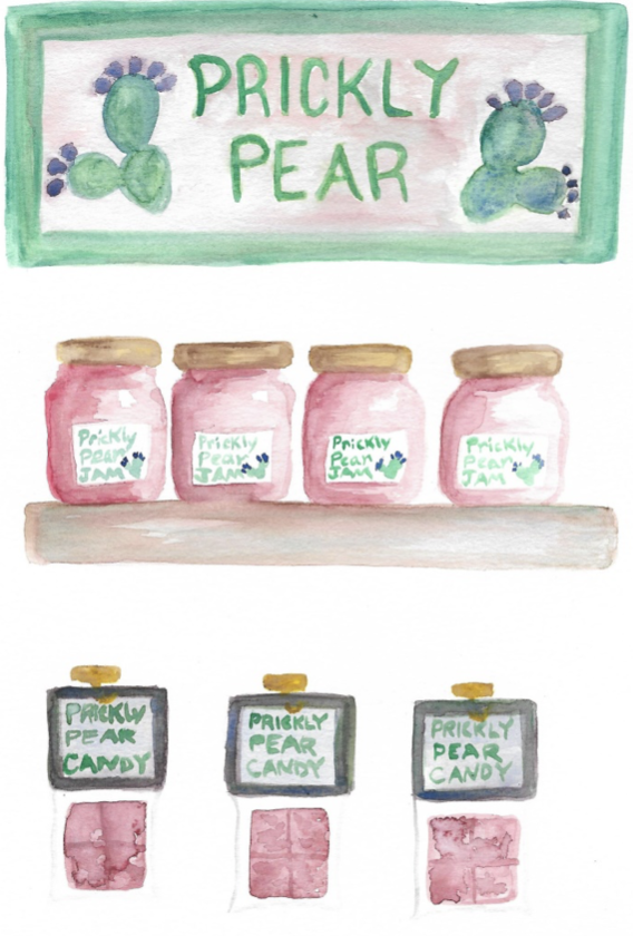 Prickly Pear Store watercolor by Saraya Lyons