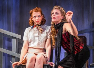 Grace Merriman as Nerissa and Joy Donze as Portia in Shakespeare's 'The Merchant of Venice' at the Secret Theatre. Photo by Reiko Yanagi