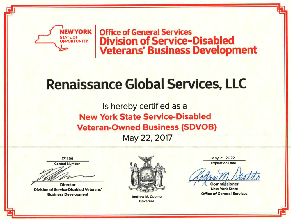 RGS gets NYS-SDVOB certification — Renaissance Global Services