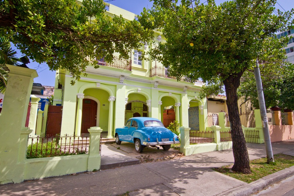 Old mansion and auto in Vedado Cuba