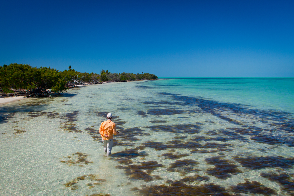 Wadefishing a likely Bonefish spot, Cayo Largo, Cuba