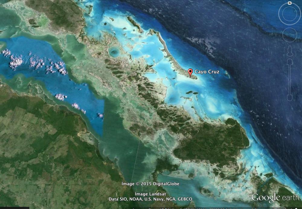 The Cayos and fishing areas around Cayo Cruz, Cuba via satellite