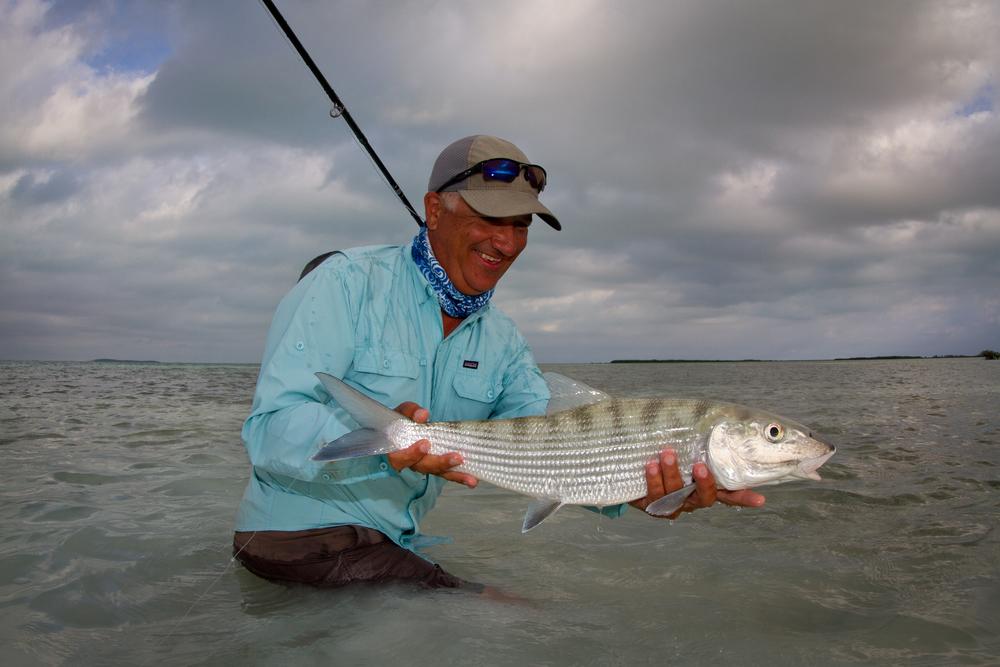 Jon Covich showing off a Bonefish caught tailing near Cayo Cruz, Cuba