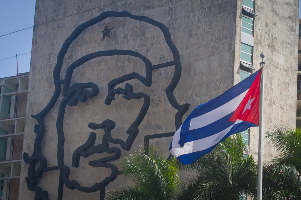 Che and the Cuban flag, Havana, Cuba
