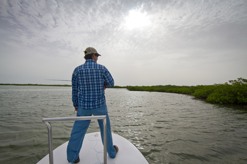Dylan Rose ready to cast in a channel near Cayo Cruz, Cuba