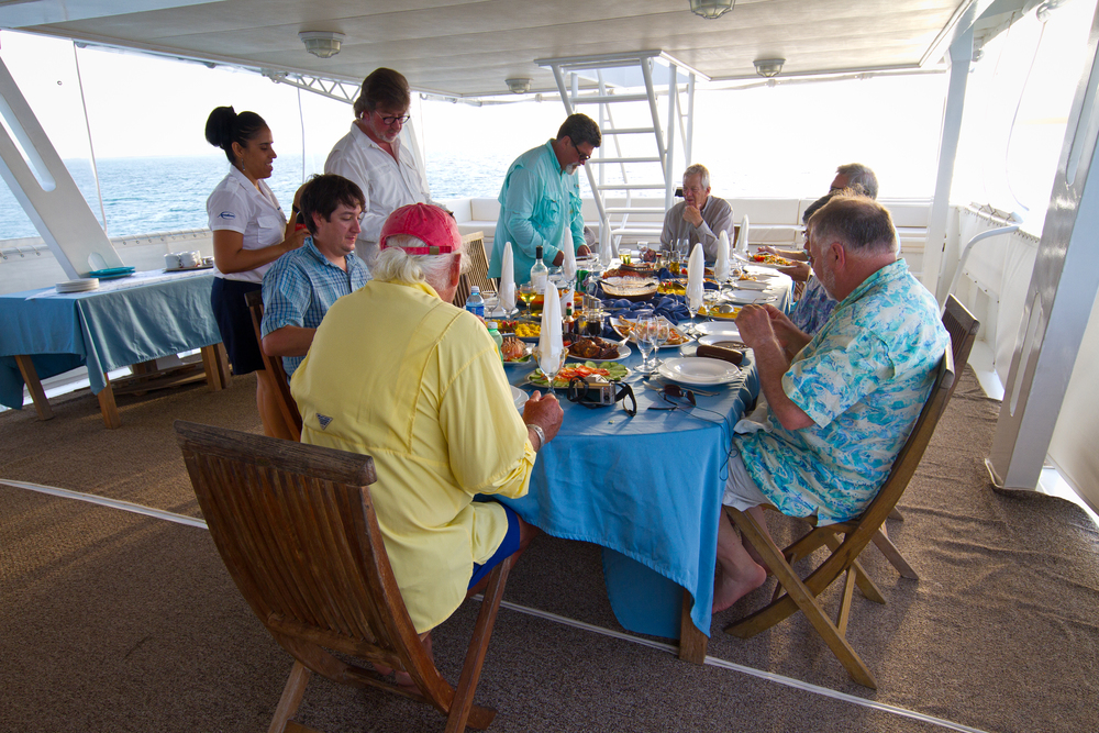 Dinner aboard the Avalon Fleet 1, Cayo Cruz, Cuba