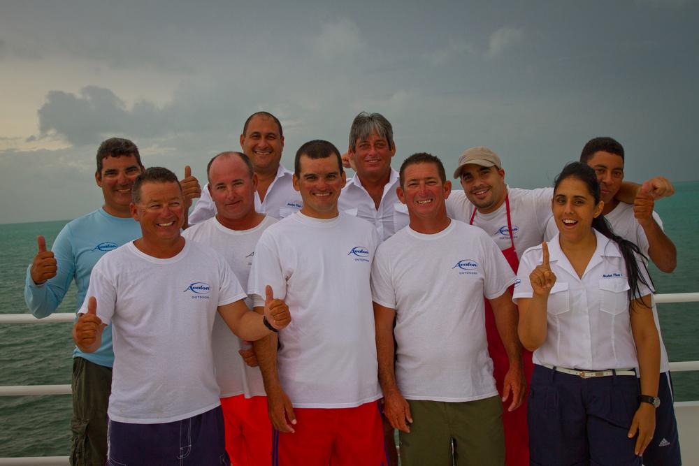 Fishing guides and staff aboard the Avalon Fleet 1, Cayo Cruz, Cuba
