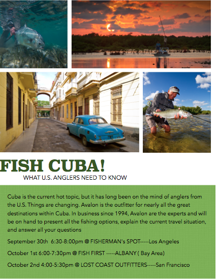 Cuba fishing promotional flyer for time in California with Avalon
