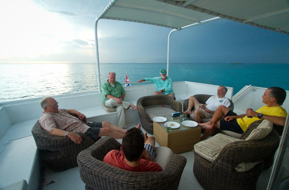 Relaxing on the aft deck, Georgiana, Zapata Peninsula, Cuba