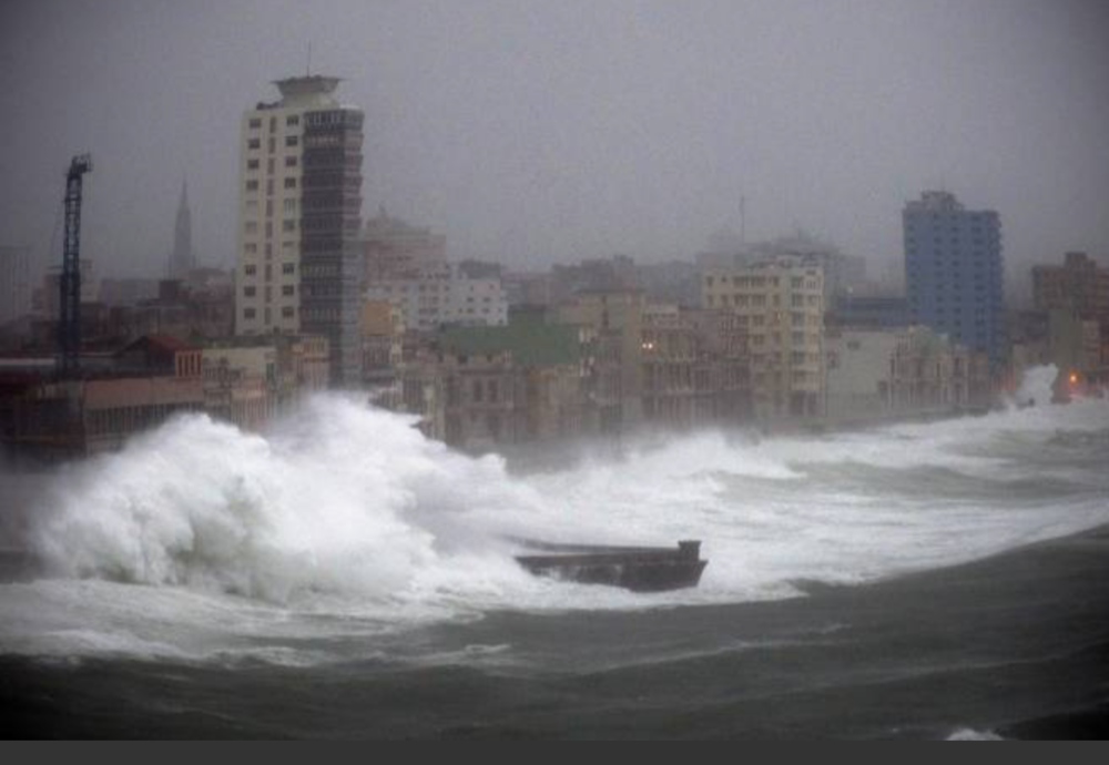 Wind and waves pound Havana's Malecon