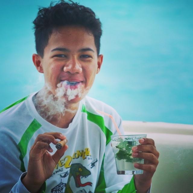What happens in Cuba stays in Cuba (unless you put it on social media). 14 year old Greger samples a Cohiba and Mojito at Cayo Cruz #cubafishingoutfitters#joncovich#flywatertravel#cubatravel#flyfishingcuba#cubanfishingcenter