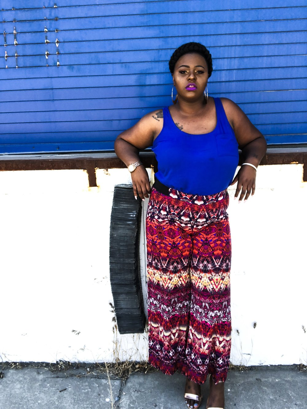 because the pants have so much detail I thought it would be perfect to pair it with a solid tank top .This tank top is from Oldnavy in the color Royal blue . This top is perfect for just about any occasion, You can dress it up or dress it down . When pairing your color contrast look for things that allow you to express yourself without saying much .