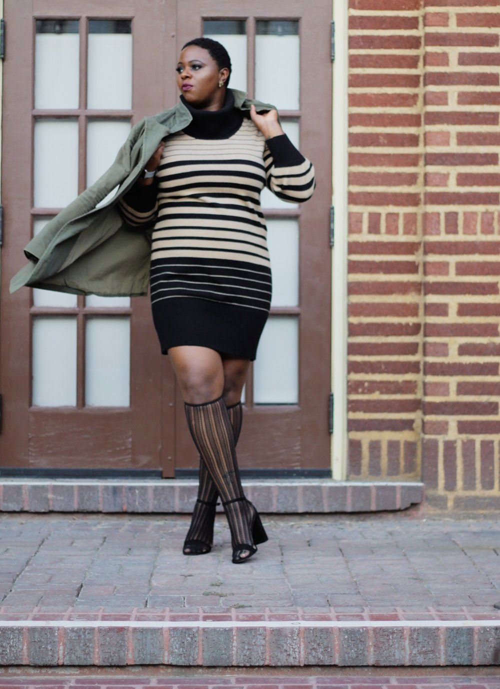fashion Details   Coat : Oldnavy  Dress : Alanna's closet    knee Highs : Target    heels: Target  Mood :Unaplogeticlly Unstoppable