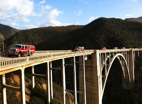 Firetrucks on Bixby Bridge.   Photo by KSBW/Felix Cortez