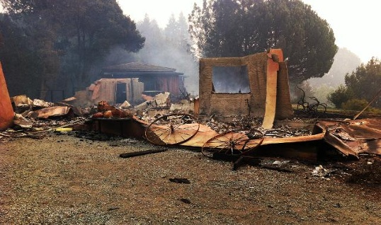 Big Sur home destroyed in the Pfeiffer Ridge fire.  Photo by KSBW