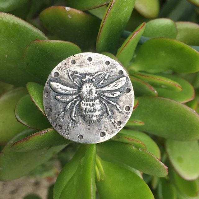 "Praise the pollinators! Sterling #silver #bee ring, size 5 1/4. Wearable wabi-sabi wings. Cast and worked on a 1 1/8"" diameter disc. 13 moons of the lunar year punctuate the edge. Show your love for your honey. $210. #BigSurArt #WearSomeArt #LocalLove"