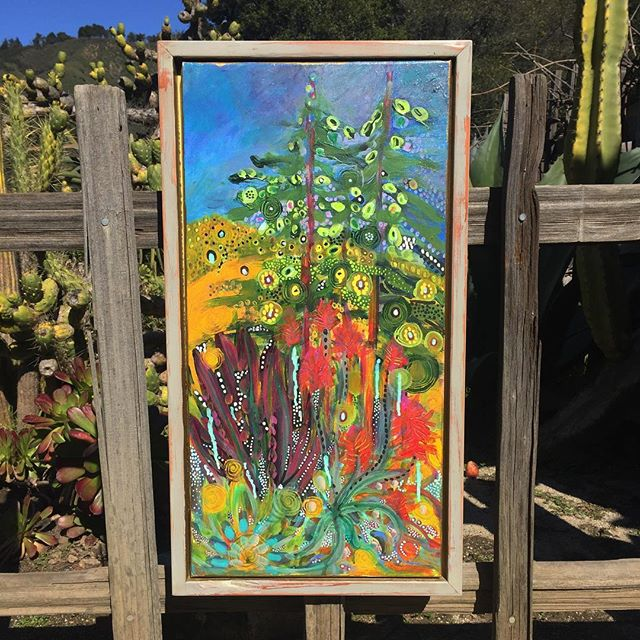 """A """"Joyful Guardian's Spring"""" for you on this beautiful sunny day! #Painting by #BigSur #Artist Seema Christie. Handmade wooden frame by Ben Kalayjian. #NoFilter #BigSurArt"""