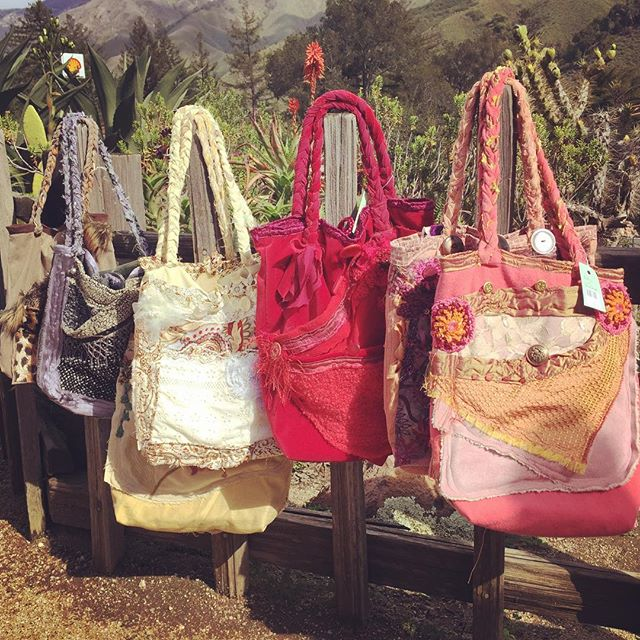 #OneOfAKind #handmade #appliqué  #tote #purses by Betty of Big Sur! Crafted on the South Coast from #vintage and new fabrics, #lace, trim and #buttons, they are now available for 30% off on our website! Happy #TimeChange sale! www.bigsurgardengallery.com/shop #BigSurFashion #WearSomeArt #OOAK #GardenGallery #BigSurShop #LocalLove