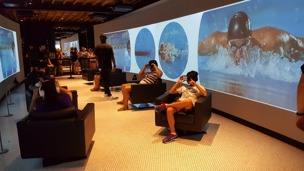 Samsungs's Gear VR headset  allows you to experience to watch Michael Phelps up close and personal in the VR Tunnel