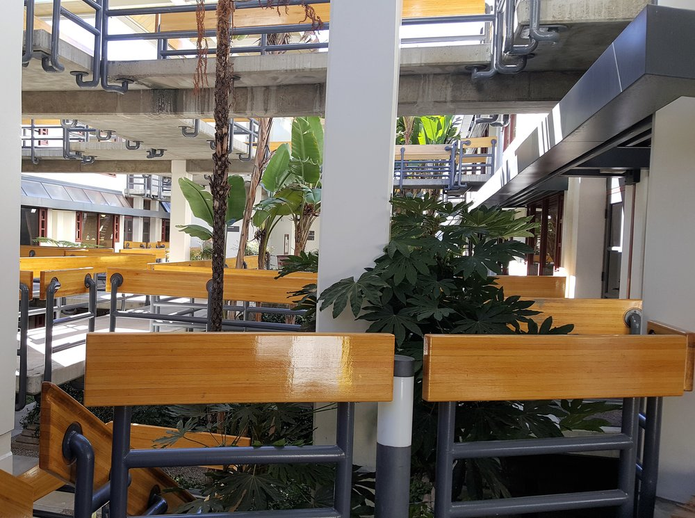 One of several San Diego offices, the Mission Valley East Hera Hub is located in an atrium-style building.