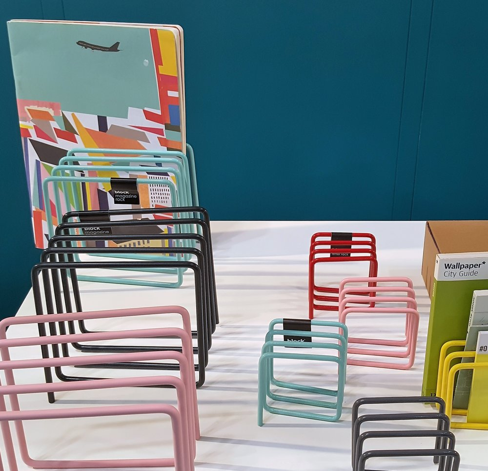 Spare in design but rich in color, powder-coated steel racks work on desks, kitchen worktables or floors. Letter-size (about 3x3x3 inches) £12, magazine/file size (about 6x6x6 inches) £20. From UK-based Block Design. blockdesign.co.uk.